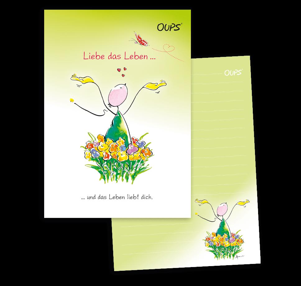 OUPS Schreibblock A5 - liniert - gelb - Liebe das Leben und das Leben liebt dich.