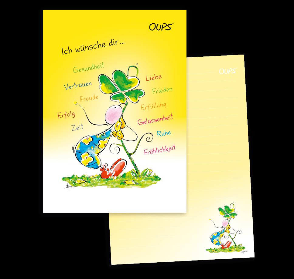 OUPS Schreibblock A5 - liniert - gelb - Ich wünsche dir…