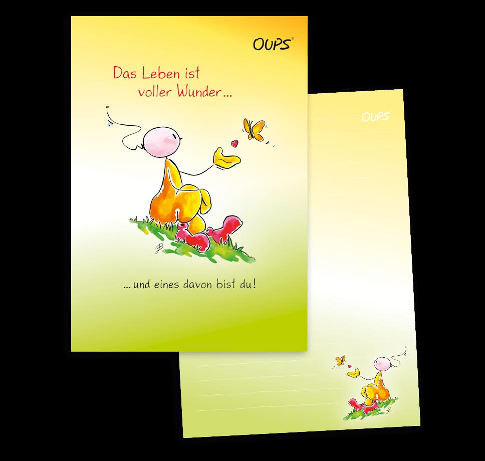 OUPS Schreibblock A5 - liniert - gelb - Das Leben ist voller Wunder und eines davon bist du!