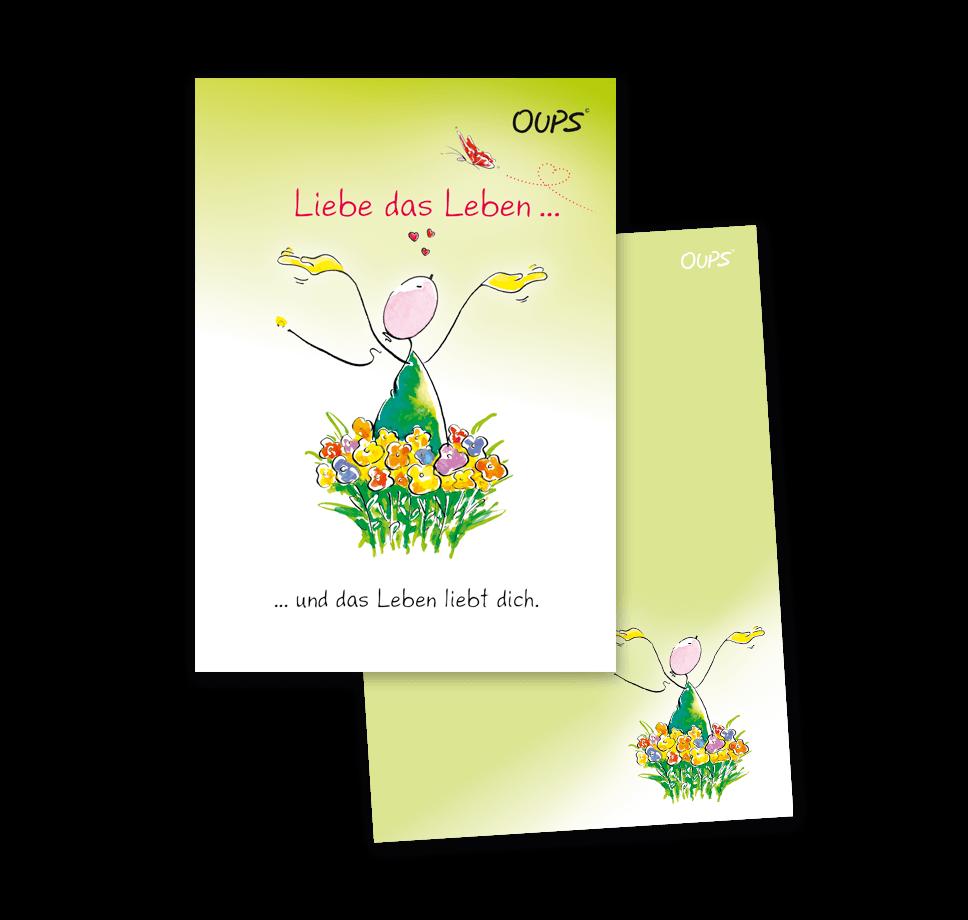 OUPS Notizblock A6 - unliniert - grün - Liebe das Leben und das Leben liebt dich.