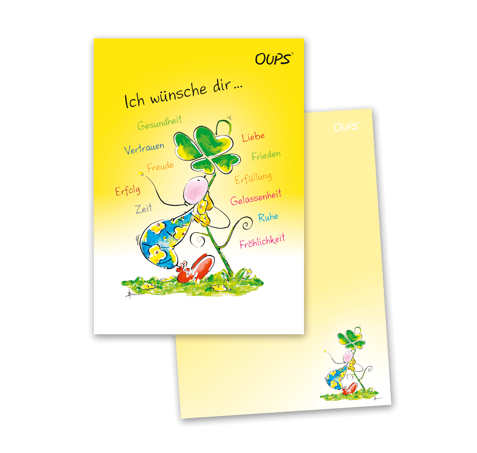 OUPS Notizblock A6 - unliniert - gelb - Ich wünsche dir…