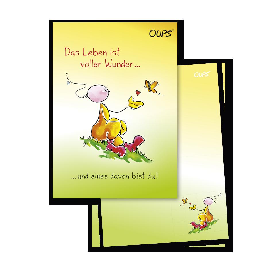 OUPS Notizblock A6 - unliniert - gelb - Das Leben ist voller Wunder und eines davon bist du!
