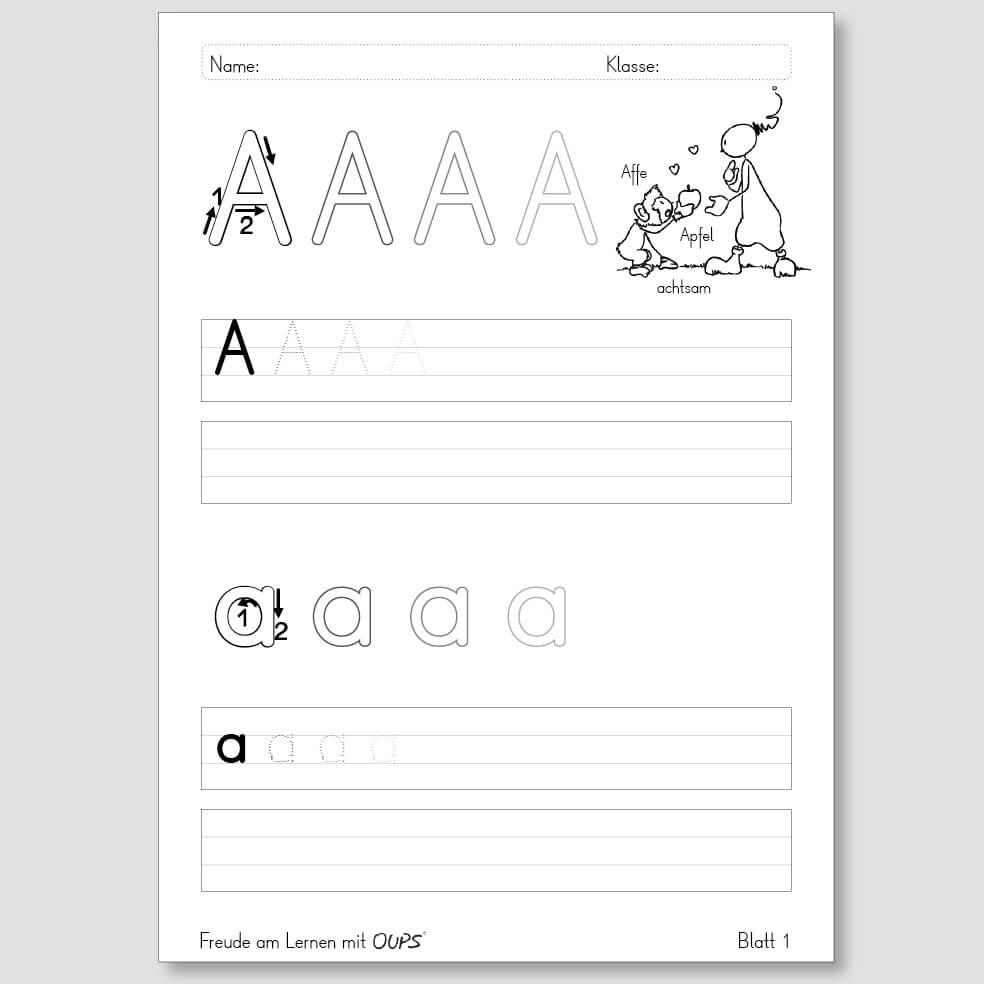 Oups - Übungsblätter zum Schreiben lernen.