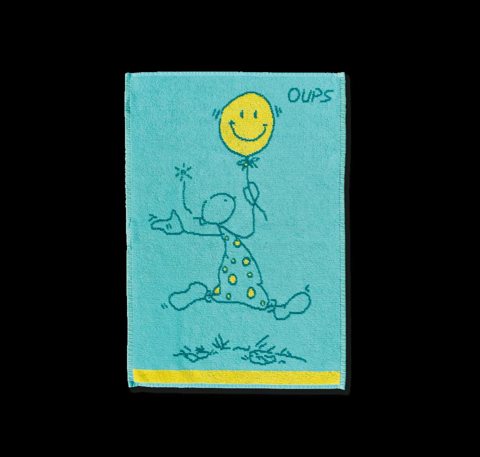 OUPS Handtuch - Happy (blau/gelb) 50x70