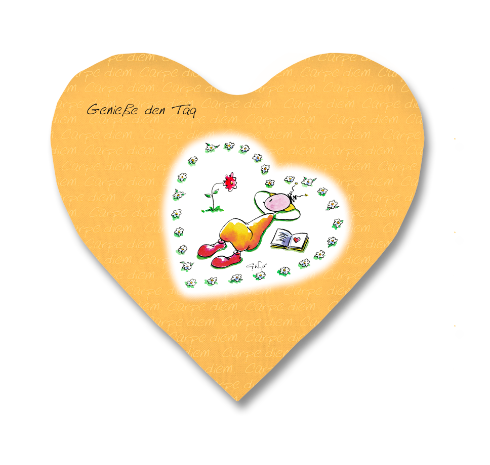 OUPS Herzkissen klein orange - Carpe Diem - Genieße den Tag