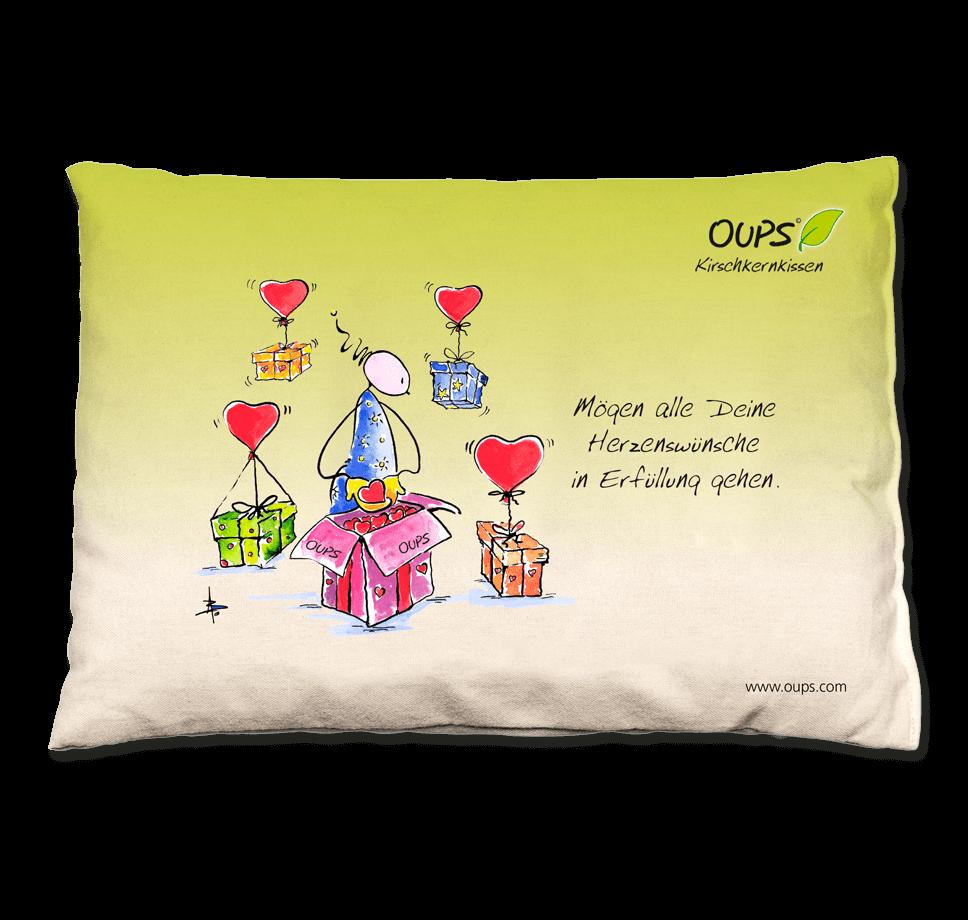 OUPS Kirschkernkissen grün - Mögen alle Deine Herzenswünsche in Erfüllung gehen.