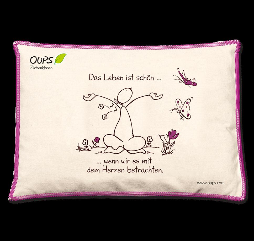 OUPS Zirbenkissen Natur Lila - Das Leben ist schön...wenn wir es mit dem Herzen betrachten