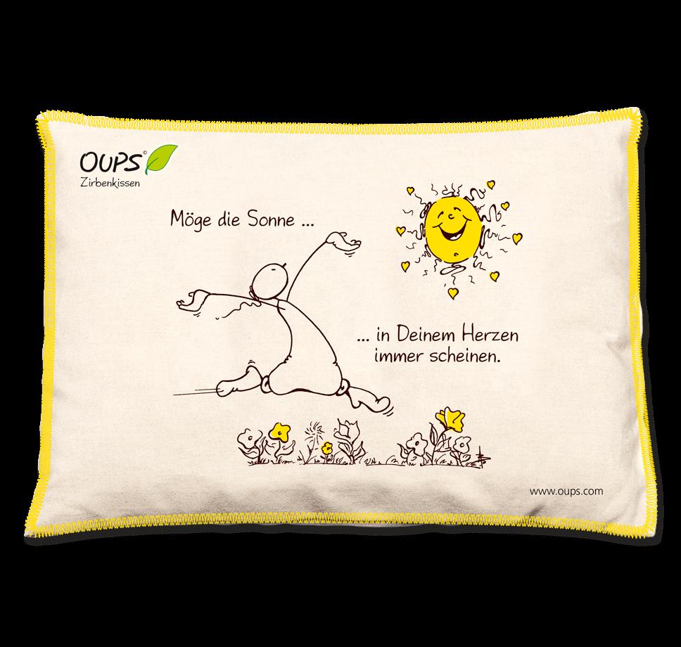 OUPS Zirbenkissen Natur Gelb - Möge die Sonne...in Deinem Herzen immer scheinen.