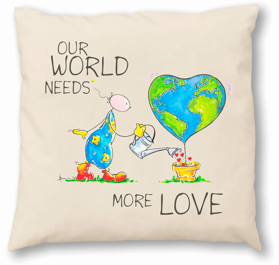 OUPS Zirbenkissen 30x30 - OUR WORLD NEEDS MORE LOVE