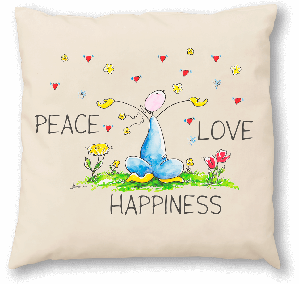 OUPS Zirbenkissen 30x30 - PEACE LOVE HAPPINESS