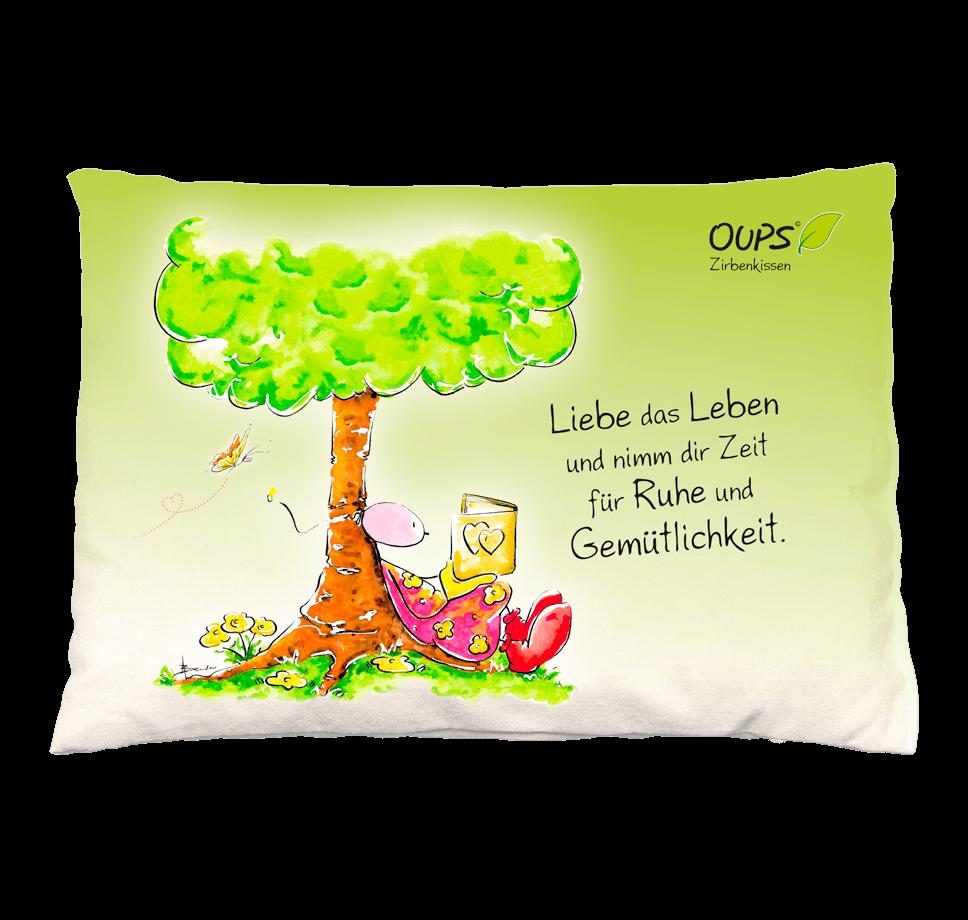 OUPS Zirbenkissen - Liebe das Leben und nimm dir Zeit für Ruhe und Gemütlichkeit. Grün