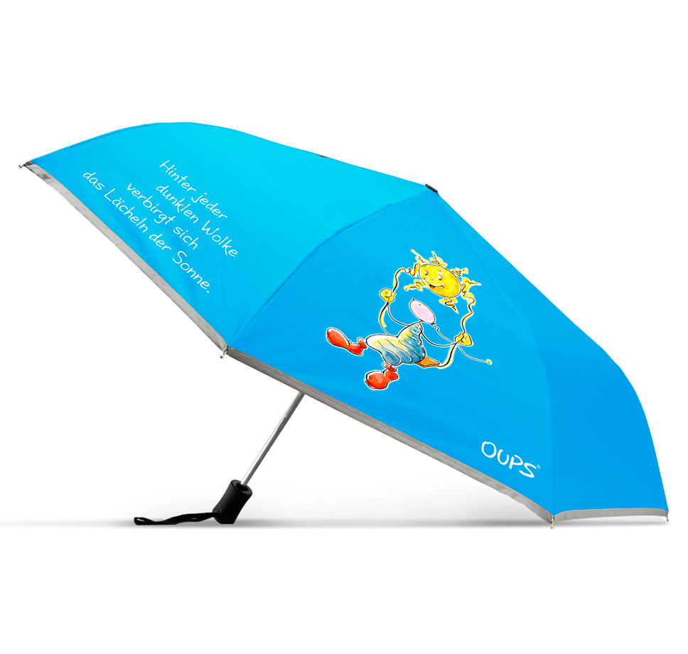 OUPS Regenschirm - Hinter jeder dunklen Wolke verbirgt sich das Lächeln der Sonne.
