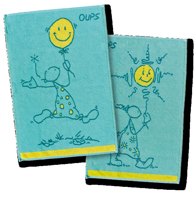 OUPS Duschtücher(blau/gelb) -  1x Happy 50x70 , 1x Sonne 50x70