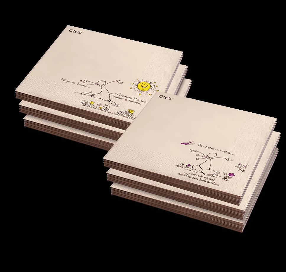 OUPS 6er Pack-Servietten Set gemischt Natur