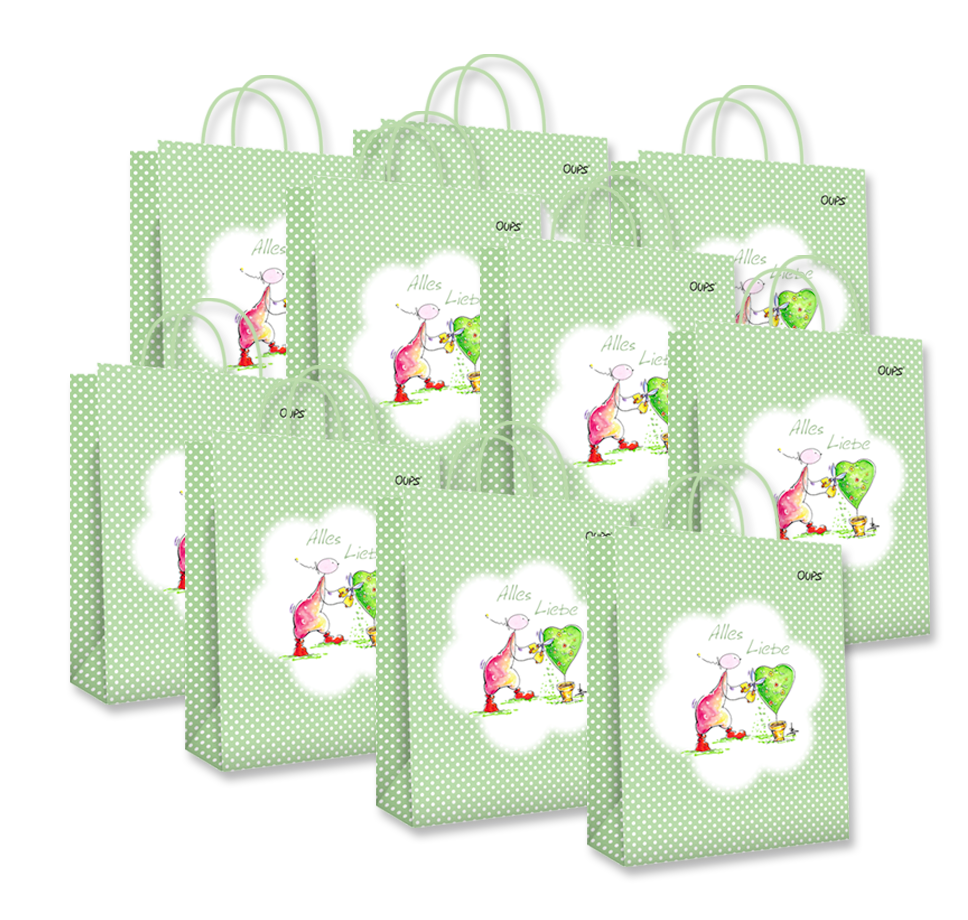 OUPS Geschenktaschen 10er-Package - Groß Grün