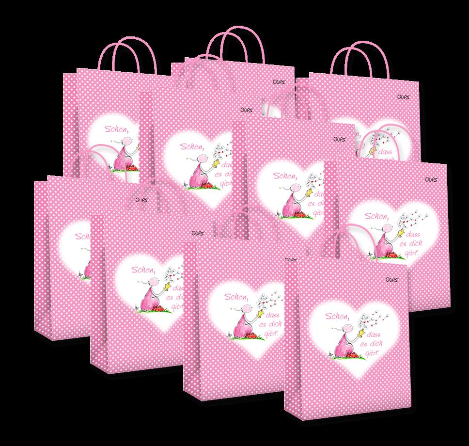 OUPS Geschenktaschen 10er-Pack - Groß Rosa