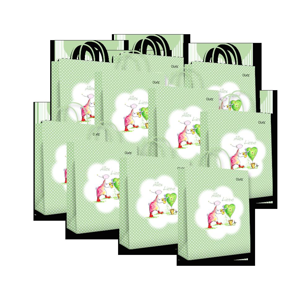 OUPS Geschenktaschen 10er-Package - Klein Grün
