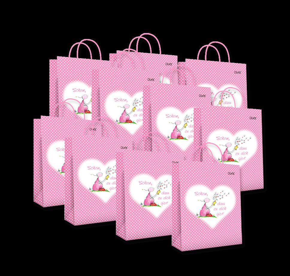 OUPS Geschenktaschen 10er-Pack - Klein Rosa