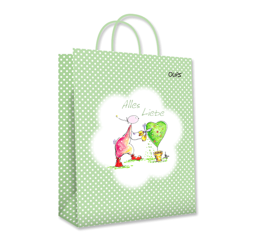 OUPS Geschenktasche groß Grün - Alles Liebe