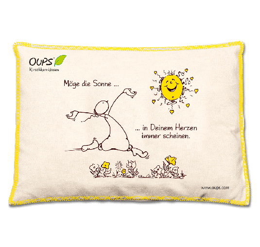 OUPS Kirschkernkissen Natur Gelb - Möge die Sonne...in Deinem Herzen immer scheinen.