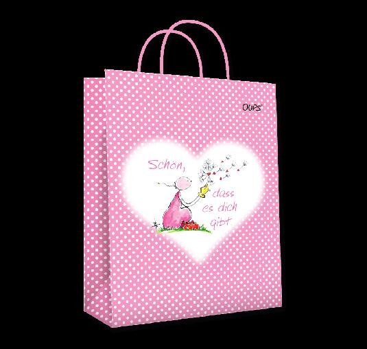 OUPS Geschenktasche groß Rosa - Schön, dass es dich gibt