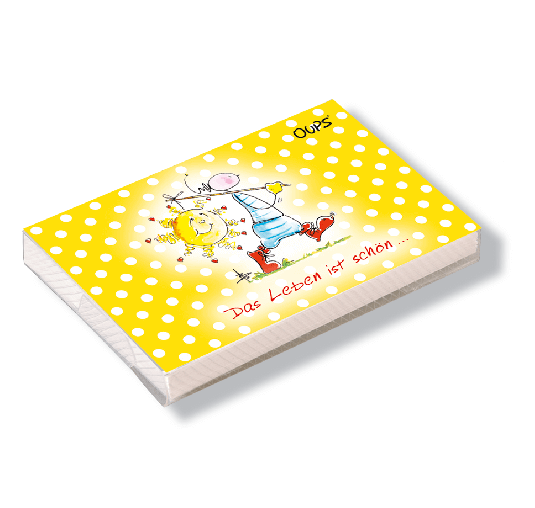 OUPS Kärtchenbox Gelb - Das Leben ist schön...