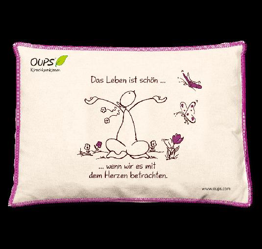 OUPS Kirschkernkissen Natur Lila - Das Leben ist schön...wenn wir es mit dem Herzen betrachten