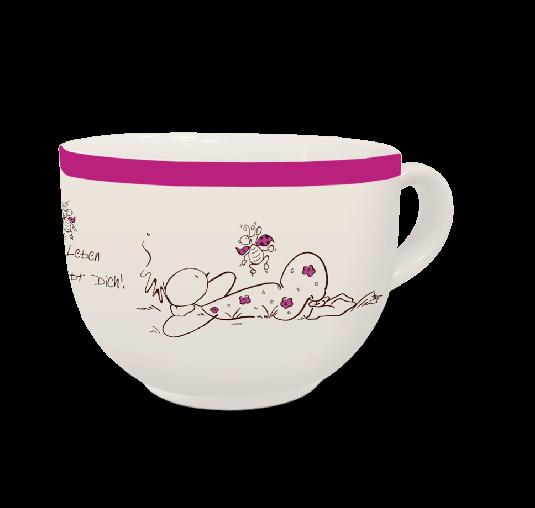 OUPS Jumbo Tasse Natur Lila - Liebe das Leben und das Leben liebt Dich!