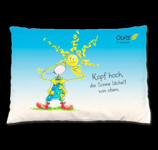 Oups Zirbenkissen - Kopf hoch, ...  blau