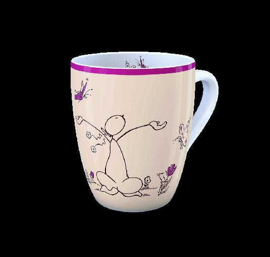 OUPS Tasse Natur Lila - Das Leben ist schön...wenn wir es mit dem Herzen betrachten.
