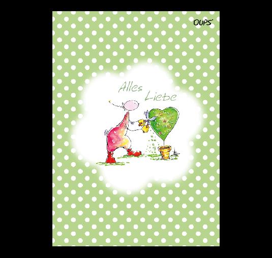 Oups Klappkarte Grün - Alles Liebe